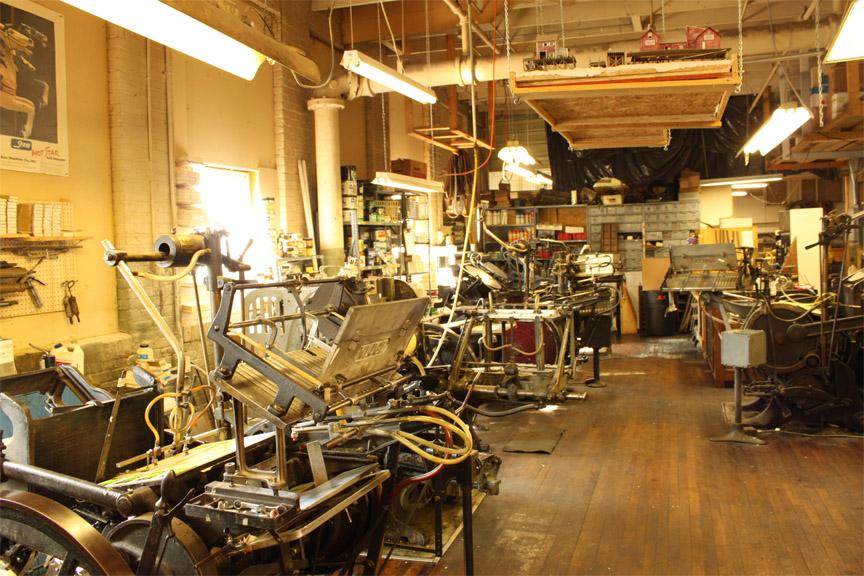 Old Fashion Letterpress Print Shop in Illinois